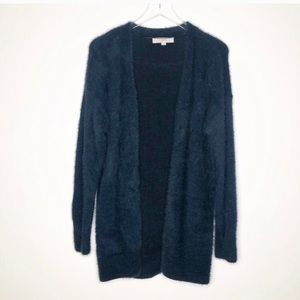Loft | Blue Fuzzy Open Front Cardigan Size Small